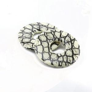 28mm Flacher ring in elfenbeinfarben mit schlangen druck