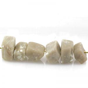 16x7 Barock perle in mix 6 formen in sesam beige / weißen punkten  Matt