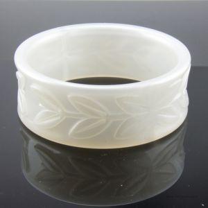 28mm Armreif Blätterkranz in weiß