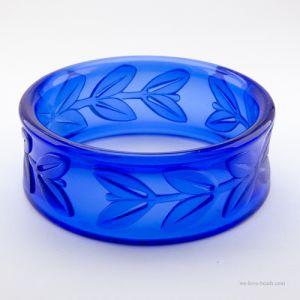 28mm Armreif Blätterkranz in blau
