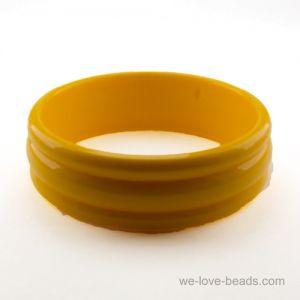 22mm Breiter Armreif mit 3 Rillen in gelb