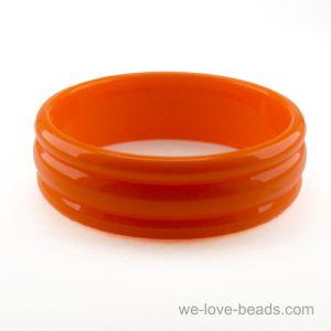 22mm Breiter Armreif mit 3 Rillen in orange