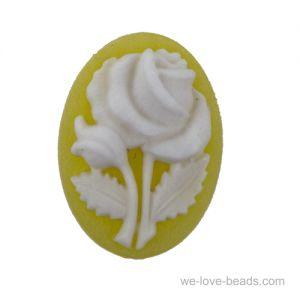 18x13 Rosen Camee in gelb / weißem