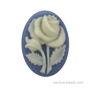 18x13 Rosen Camee in blau / elfenbeinfarbigem