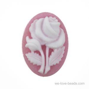 18x13 Rosen Camee in Rosa/weiß