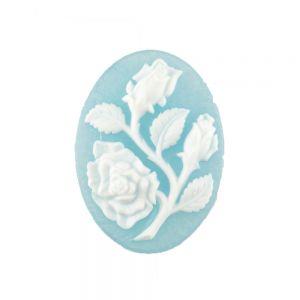 40x30 Camee Rose in türkisblau matt / weißem