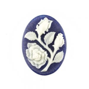 30x22 Camee Rose in blau/elfenbein