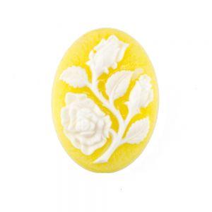 30x22 Camee Rose in gelb / weißem