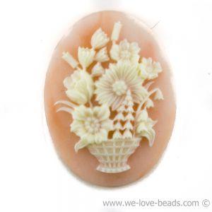 18x13 Camee blumenkorb in Basis altrosa mit elfenbeinfarbigem  Kopf