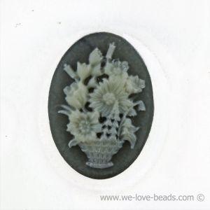 18x13 Camee blumenkorb in Basis dunkelgrau mit elfenbeinfarbigem Kopf