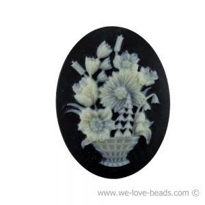 18x13 Camee blumenkorb in Basis schwarz mit elfenbeinfarbigem Kopf