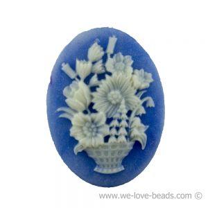 30x22 Camee blumenkorb in blau mit elfenbeinfarbigem Kopf