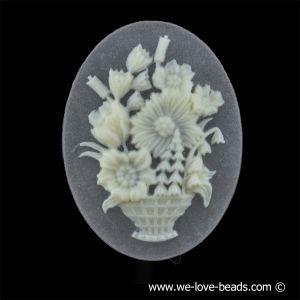 40x30 Camee blumenkorb in kristall matt mit elfenbeinfarbigem Kopf
