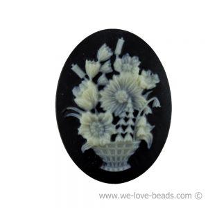 40x30 Camee blumenkorb in schwarz mit elfenbeinfarbigem Kopf
