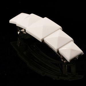 6x1,5 cm Patentspange rechteck in weiß