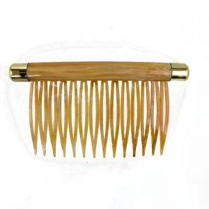90x48 Kamm in bernstein  mit goldenen Kappen