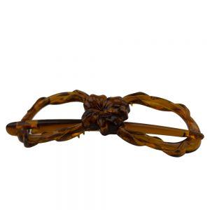 8x2,5cm Libellenspange 8er Form Blumendecor in havanna