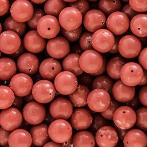 14mm Rundperle in korall gepunktet