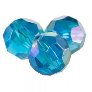 12mm Facettenperle in nachtblau  mit AB effekt