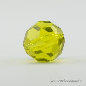 22mm Facettenperle in gelbgrün