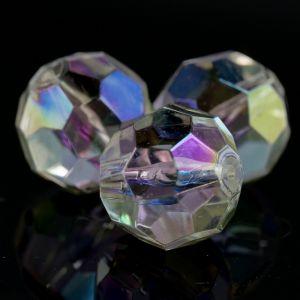 6mm Facettenperle in kristall  mit AB effekt