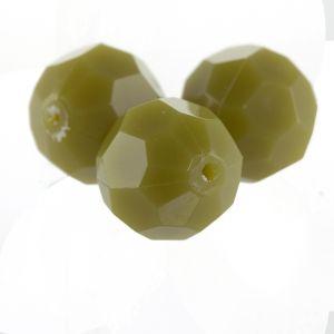6mm Facettenperle in khaki-oliv