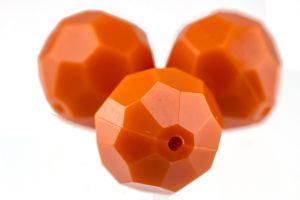 14mm Facettenperle in korallen orange