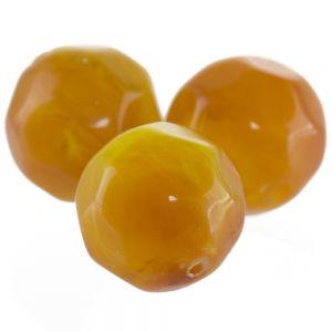 12mm Facettenperle in karamellgold mit abgerundeter facette