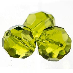 14mm Facettenperle in goldenes olivgrün