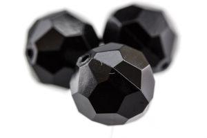 6mm Facettenperle in schwarz