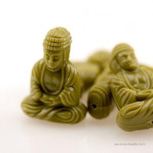 25x18 Sitzender Buddha in schilfgrün