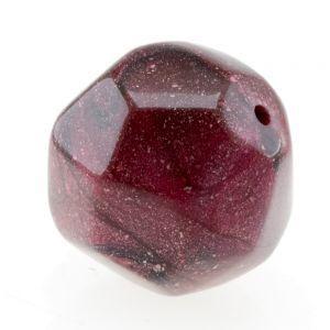 21mm Schliffperle mit abgerundeten kanten in Rubinrot