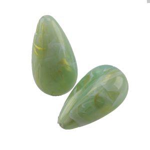 26x14 Bauchiger glatter Tropfen in helles jade gold