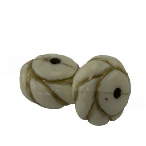 16x11 Donutperle indianer ornament in elfenbeinfarben  mit Gold