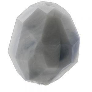 25x21 Facettenperle oval in marmorgrau