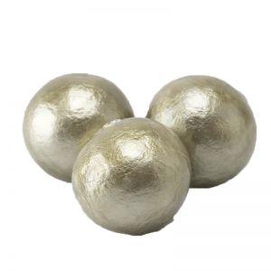 18mm Paper mache perle in sesam beige cotton