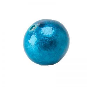 18mm Paper mache perle in kapri blau metallic