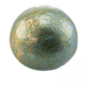 24mm Paper mache cabochon in aqua blau puder gold