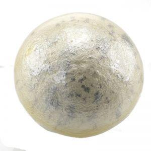 24mm Paper mache cabochon in angora weiß puder silber