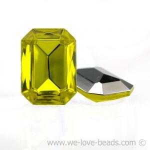 14x10 Octagon facettiert in gelb verspiegelt