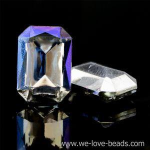 14x10 Octagon facettiert in kristall / aurora effekt verspiegelt