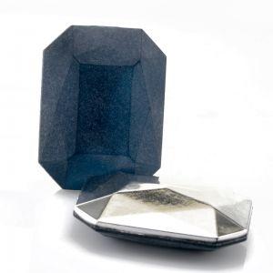 40x30 Octagon facettiert in alpengrau blau  verspiegelt matt