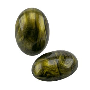 25x18 Cabochon oval in schwarz gold