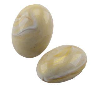 25x18 Cabochon oval in elfenbein mit gold