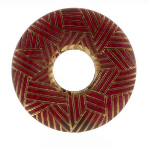 38mm ethno ring in rot  mit Gold