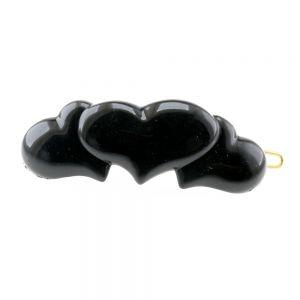 41x17 Dratspange 3 Herzen in schwarz