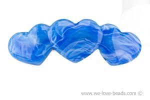 11x3,5cm Herz Patentspange (3Herzen) in lichtblau