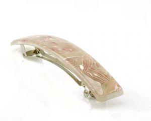 10x1,7cm Patentspange glatt in einem streifen Decor in rosa