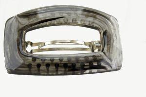 92x58 Rechteckige Patentspange in rauchgrau