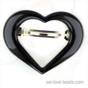 9x7cm Herz Patentspange offen in schwarz